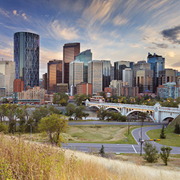 Scenic shot of downtown Calgary in the fall